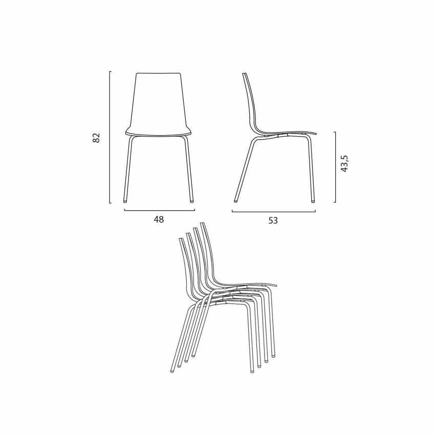 S3343N - Sedie bar cucina gambe acciaio impilabile LOLLIPOP Grand Soleil - outlet