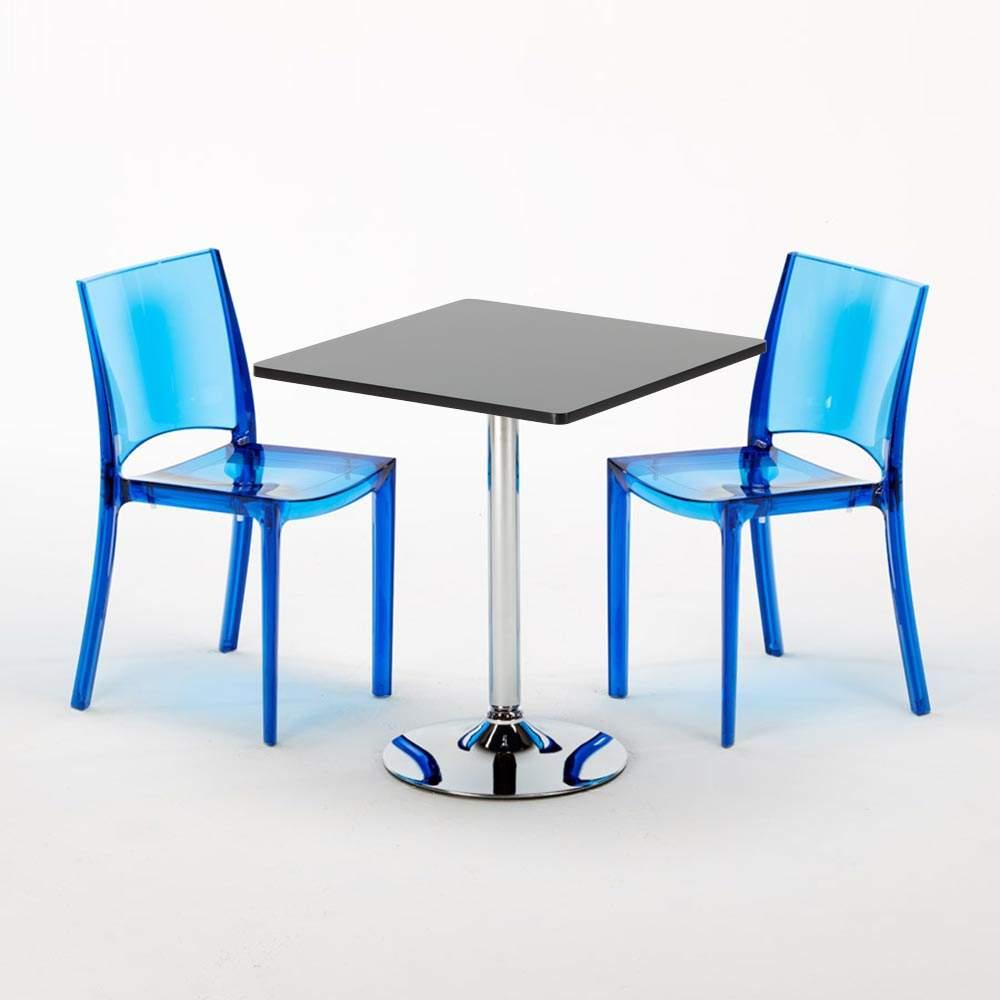 Tavolino Quadrato Nero 70x70cm + 2 Sedie Colorate ...