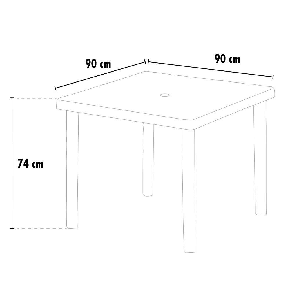 Tavolo bar giardino poly rattan quadrato 90x90 Grand ...