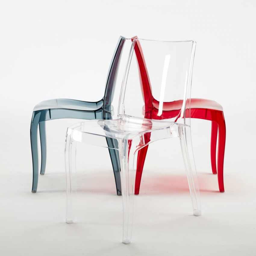 S6326TR - Sedie cucina e bar trasparenti policarbonato impilabile CRISTAL LIGHT Grand Soleil Design - crema