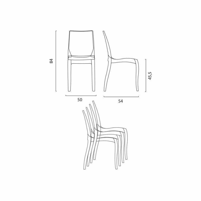 S6326TR - Sedie cucina e bar trasparenti policarbonato impilabile CRISTAL LIGHT Grand Soleil Design - bianco