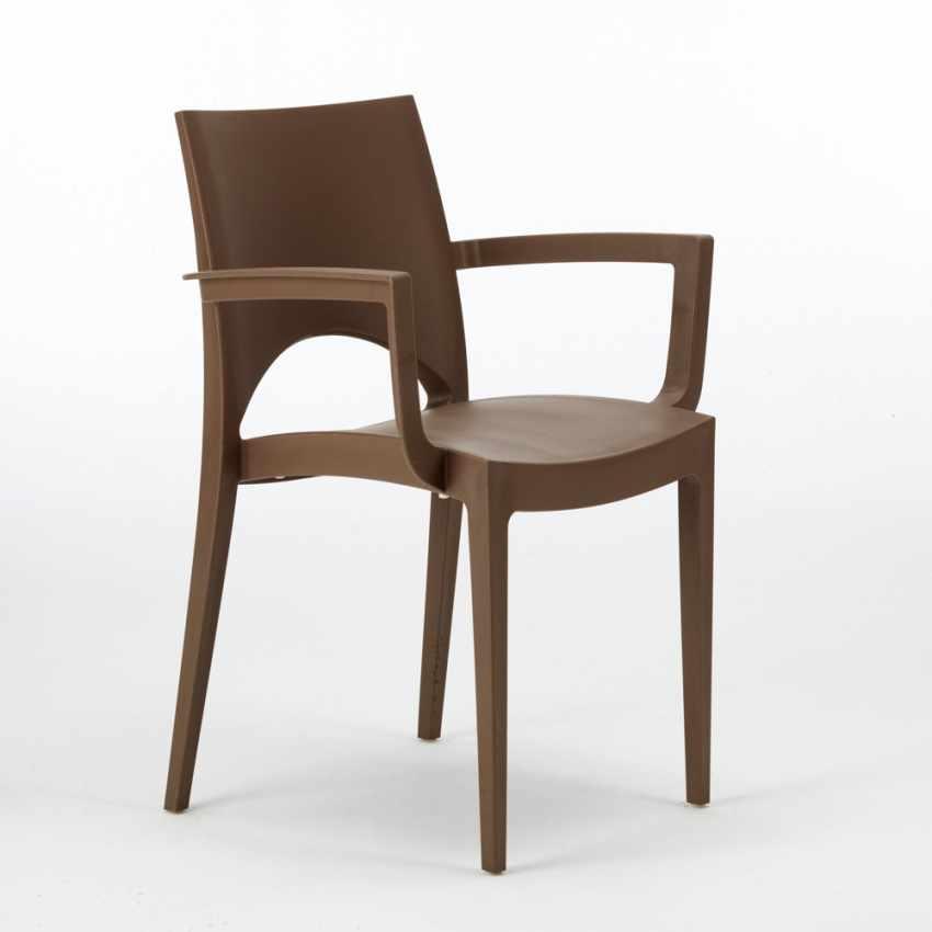 sedia ergonomica con braccioli in polipropilene marrone