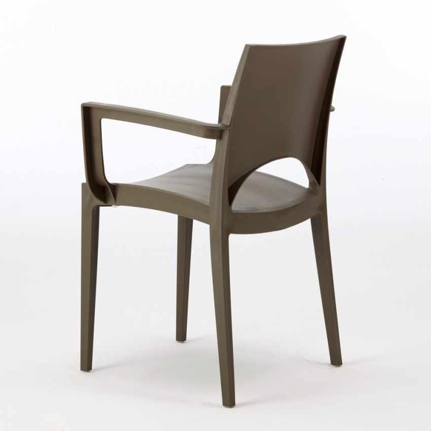 sedia made in italy per bar ristorante cucina con braccioli marrone