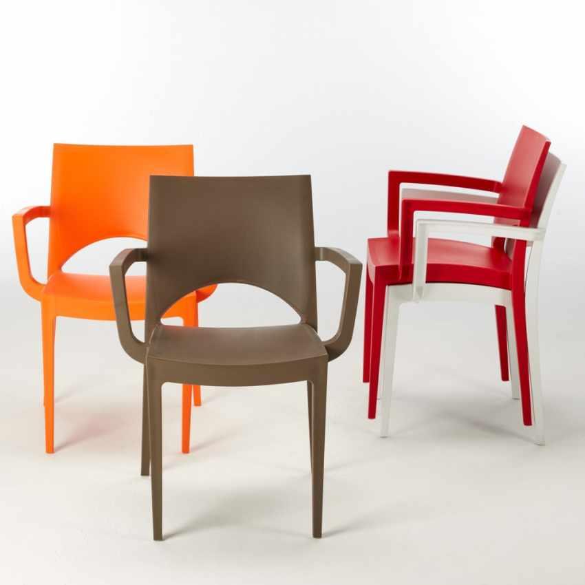 sedia da bar cucina con braccioli design italiano impilabili
