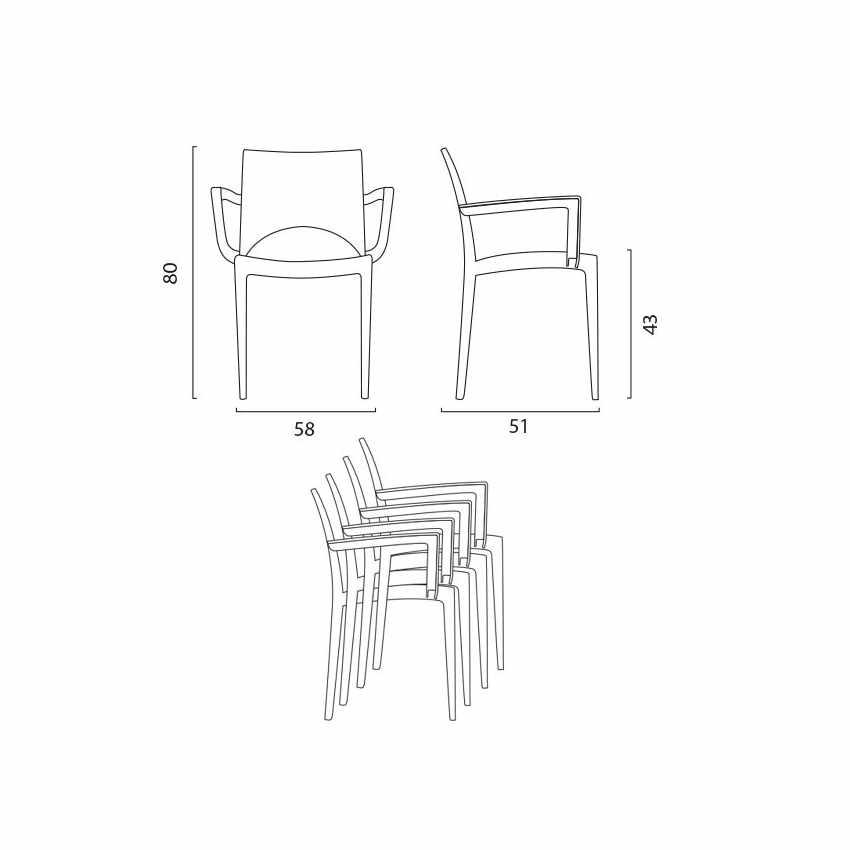 sedia da bar cucina con braccioli design italiano misure