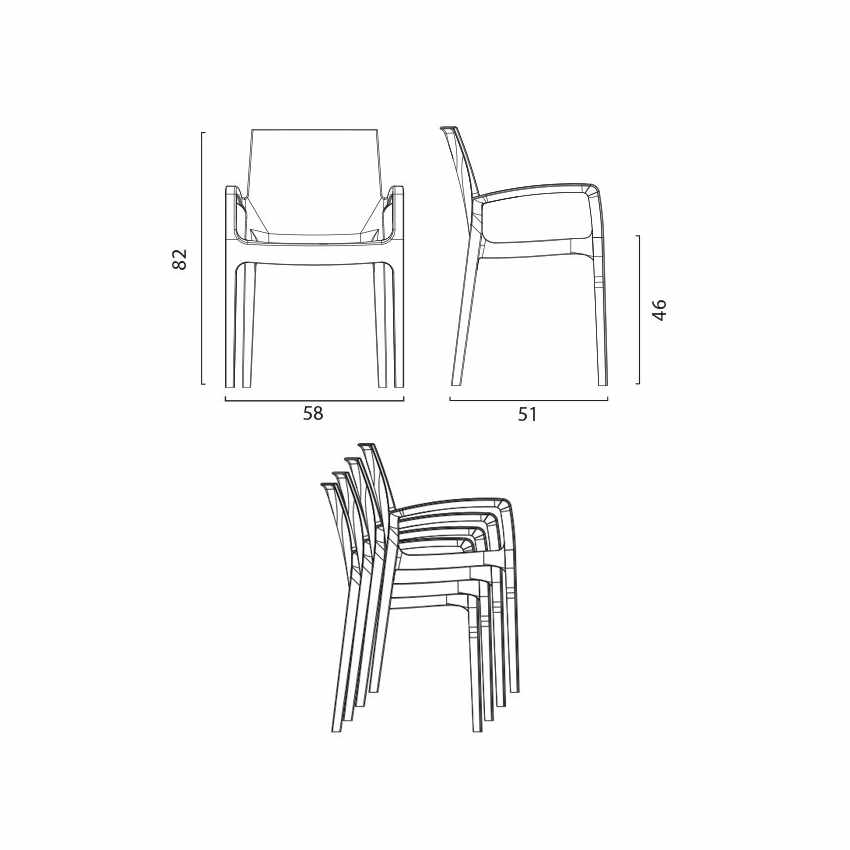 sedia da cucina salotto con braccioli lavabile misure