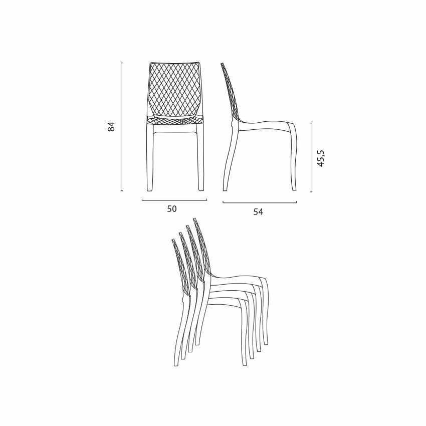 S6319TR - Sedie cucina e bar policarbonato trasparente impilabile HYPNOTIC Grand Soleil - strisce