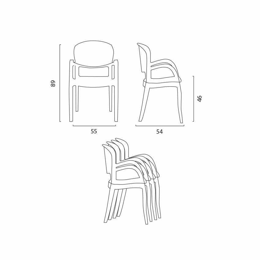 Offerta 20 Sedie Trasparenti per Bar Ristoranti Design Moderno JOKER - esterno