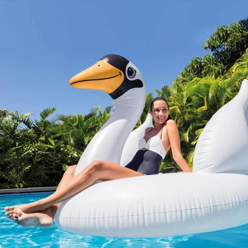56287 - Intex 56287 cigno gigante gonfiabile galleggiante piscina feste pool party - grigio