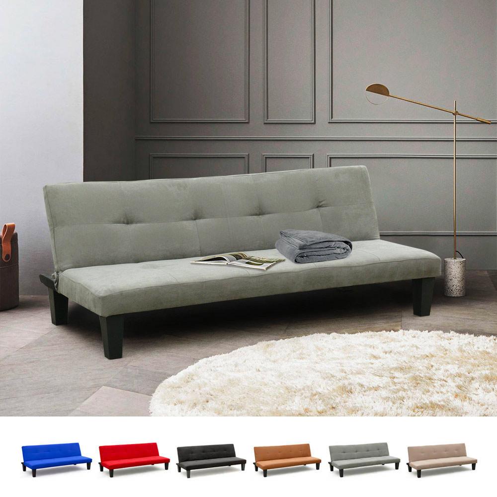 Divano Rosso E Grigio divano letto 2 posti microfibra con piedini onice per casa e sale d'attesa  pronto letto