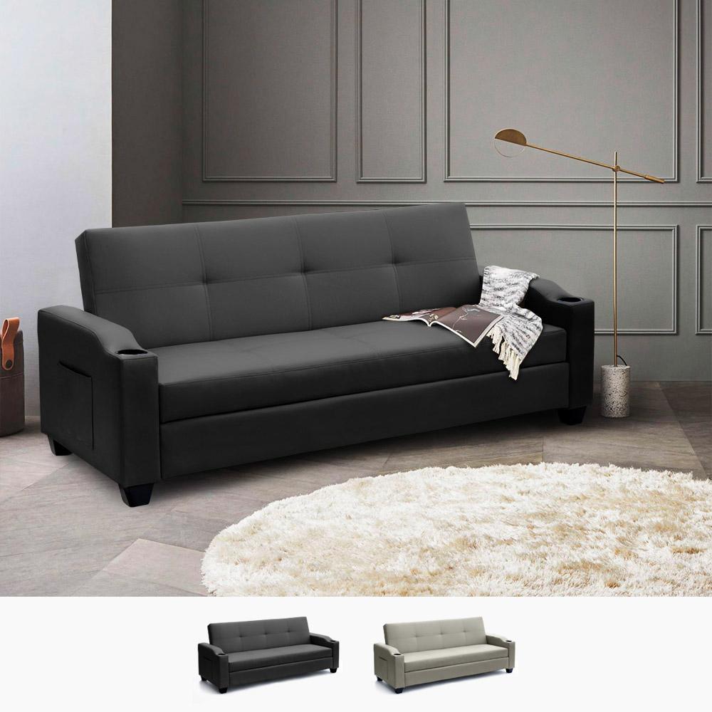 Cuscino Capitonnè Fai Da Te divano letto 2 posti in similpelle reclinabile ambra pronto letto