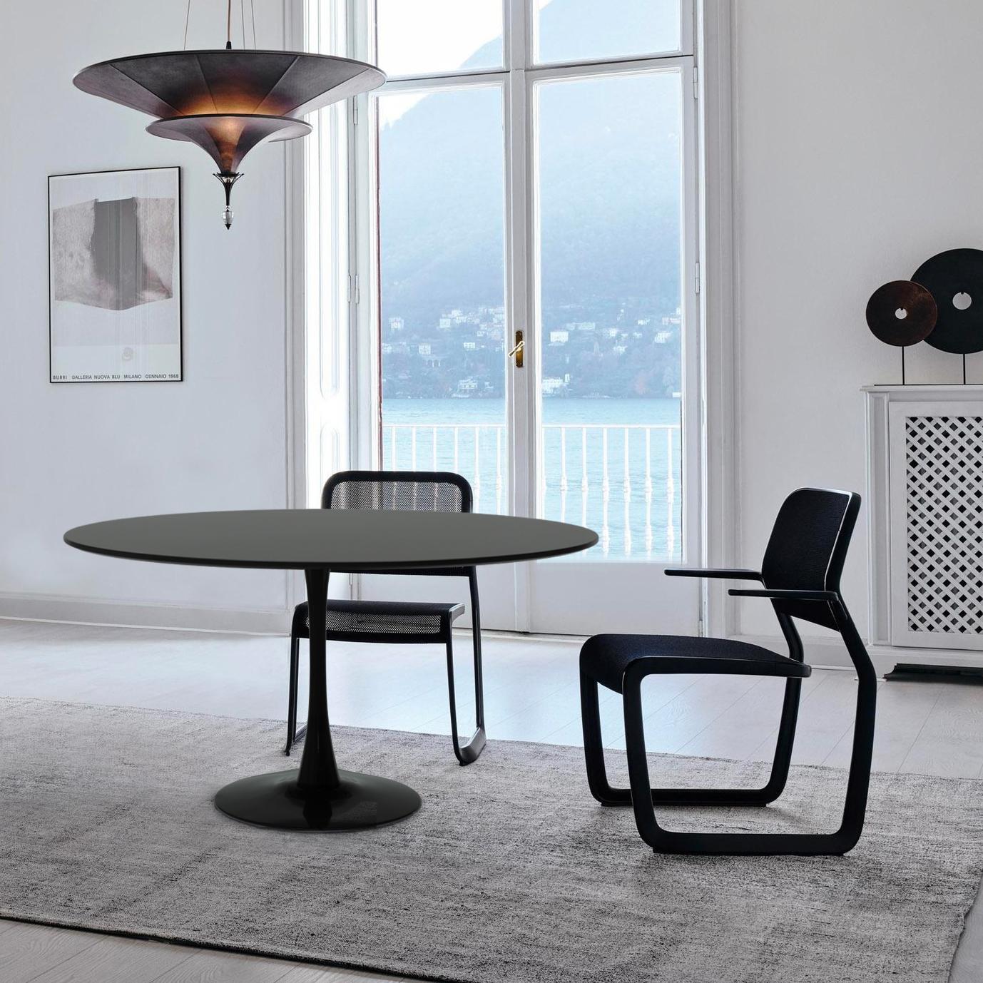 Tavolo TULIP 120 cm rotondo bianco e nero per soggiorno ...
