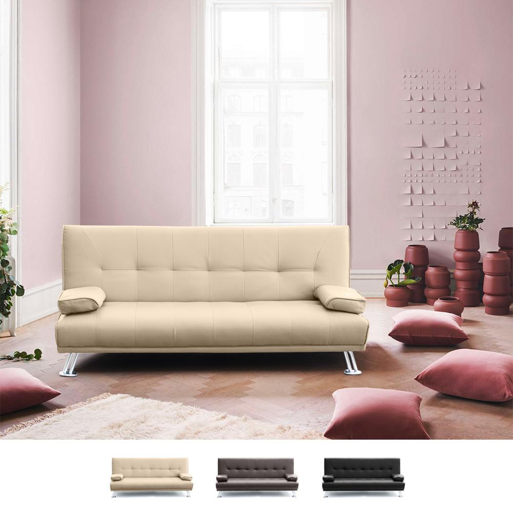 Divano Rosso E Grigio divano letto 2 posti in ecopelle con braccioli olivina per casa e locali  pubblici pronto letto