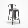 Sgabello Tolix Industrial con schienale in metallo bar cucina STEEL TOP - nuovo