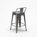 Sgabello Tolix Industrial con schienale in metallo bar cucina STEEL TOP - foto