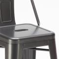 Sgabello Tolix Industrial con schienale in metallo bar cucina STEEL TOP - scontato