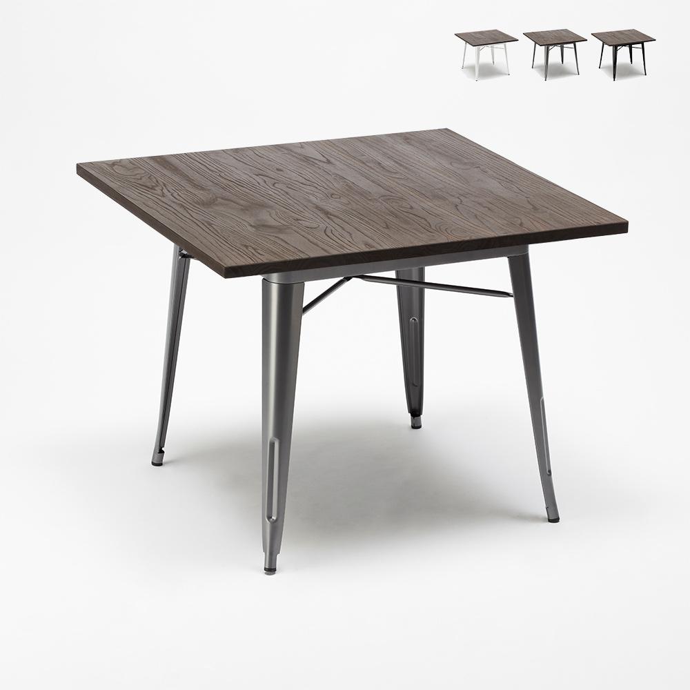 Tavoli In Acciaio E Legno.Allen Tavolo Tolix Industrial In Acciaio E Legno 80x80