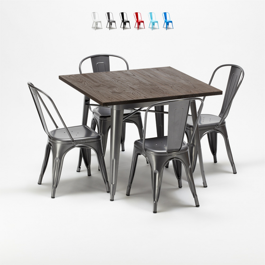 Tavoli E Sedie Ristorante Arredamento E Casalinghi.Jamaica Set Tavolo Quadrato E Sedie In Metallo Design Tolix