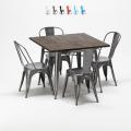Set tavolo quadrato e sedie in metallo design Tolix industriale JAMAICA - dettaglio