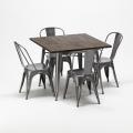 Set tavolo quadrato e sedie in metallo design Tolix industriale JAMAICA - immagine