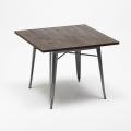 Set tavolo quadrato e sedie in metallo design Tolix industriale JAMAICA - scontato