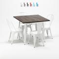 Set tavolo quadrato e sedie in metallo legno stile Tolix industriale MIDTOWN - esterno