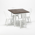 Set tavolo quadrato e sedie in metallo legno stile Tolix industriale MIDTOWN - offerta