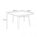 Set tavolo quadrato e sedie in metallo legno stile Tolix industriale MIDTOWN - scontato