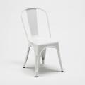 Set tavolo quadrato e sedie in metallo legno stile Tolix industriale MIDTOWN - arredamento