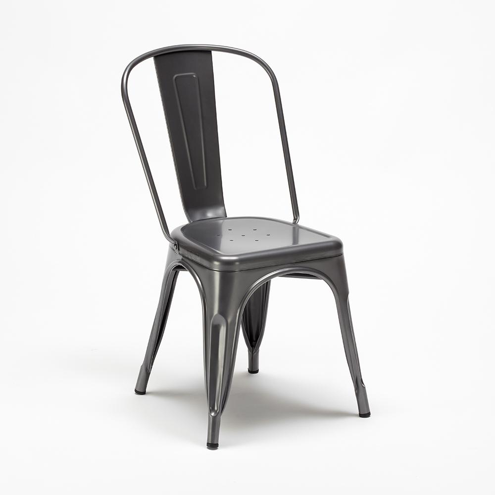 Set tavolo quadrato in legno e sedie in metallo stile ...