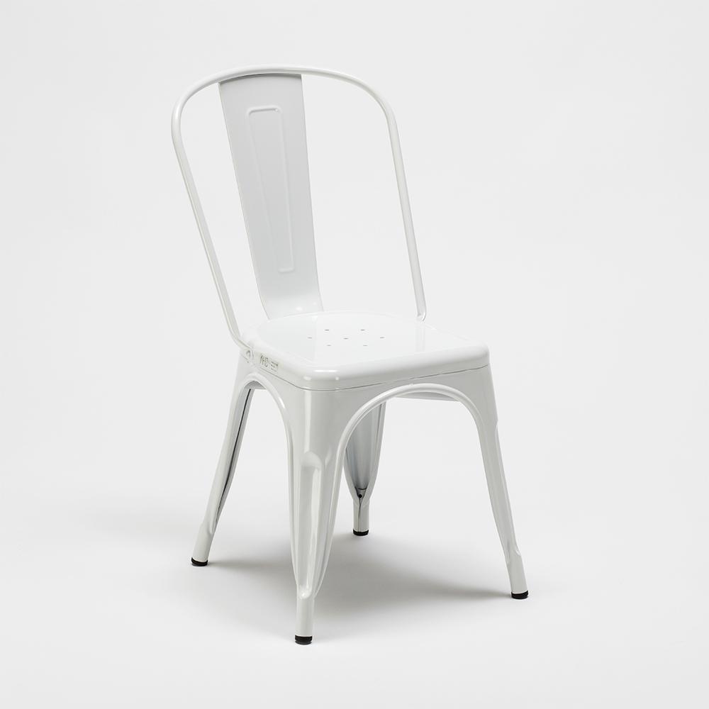 Dettagli su Tavolo quadrato e sedie in metallo e legno in stile Tolix industriale set TRIBEC