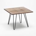 Set tavolo quadrato in legno e sedie in metallo design Tolix industriale BAY RIDGE - nuovo
