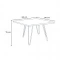 Set tavolo quadrato in legno e sedie in metallo design Tolix industriale BAY RIDGE - foto