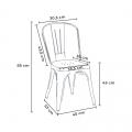 Set tavolo quadrato in legno e sedie in metallo design Tolix industriale BAY RIDGE - scontato