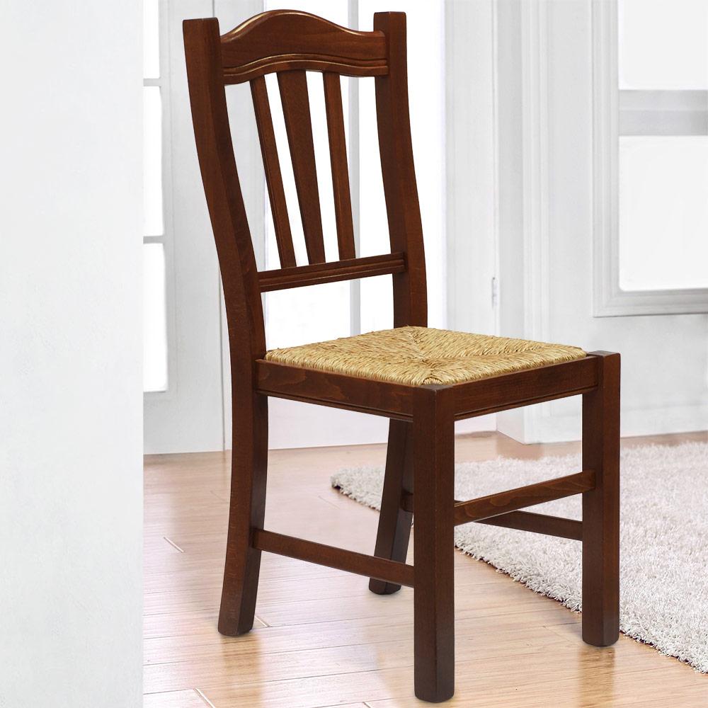 Sedia in legno con seduta impagliata per cucina e sala da pranzo SILVANA PAGLIA