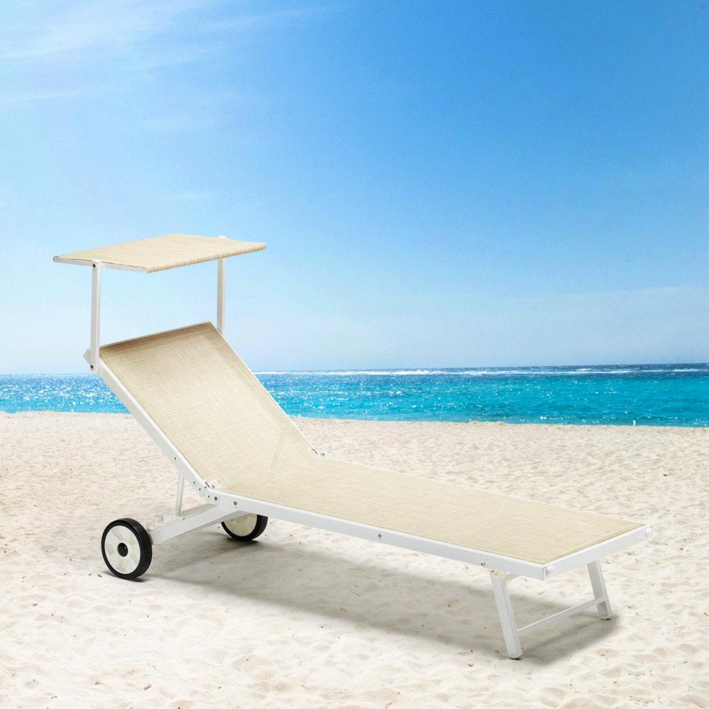 Sdraio Da Spiaggia Con Ruote.Lettino Da Giardino Spiaggia Piscina Con Ruote In Alluminio