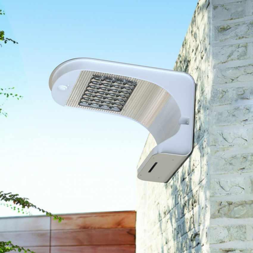 LR006LED - Applique lampada muro luce led solare giardino esterno sensore movimento REFLEX 28 Led - dettaglio
