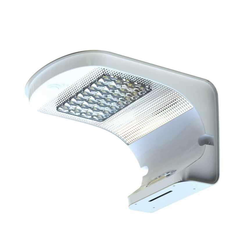 lampione solare LED a muro con pannello integrato per esterni