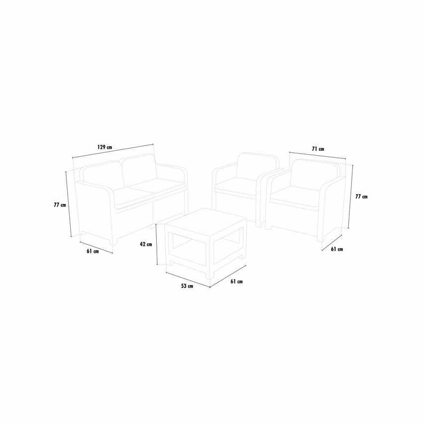 S7705 - Salotto giardino Grand Soleil SORRENTO Polyrattan tavolino divano poltrone da esterni 4 posti - basso prezzo