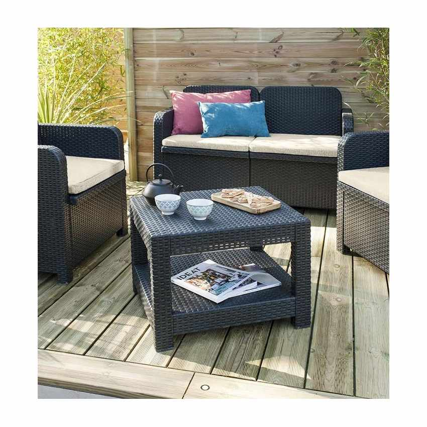 S7705 - Salotto giardino Grand Soleil SORRENTO Polyrattan tavolino divano poltrone da esterni 4 posti - marrone