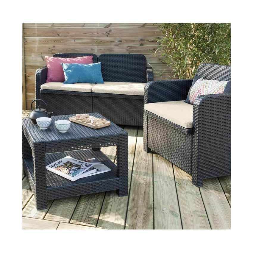 S7705 - Salotto giardino Grand Soleil SORRENTO Polyrattan tavolino divano poltrone da esterni 4 posti - verde