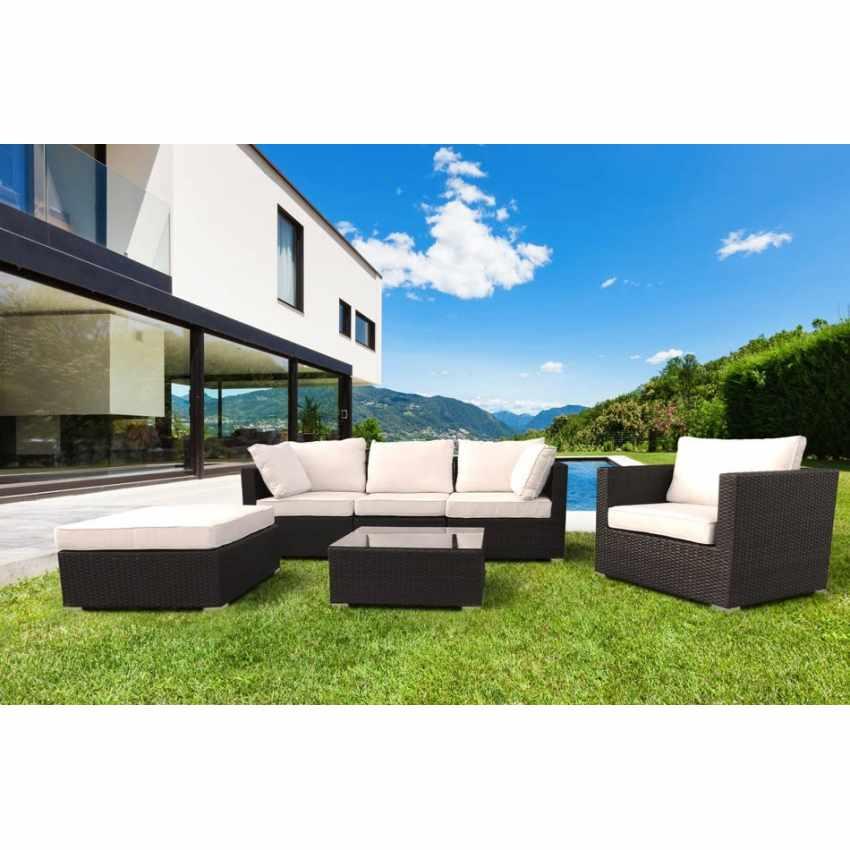 Salotto da giardino in polyrattan con effetto vimini 4 for Arredo giardino moderno