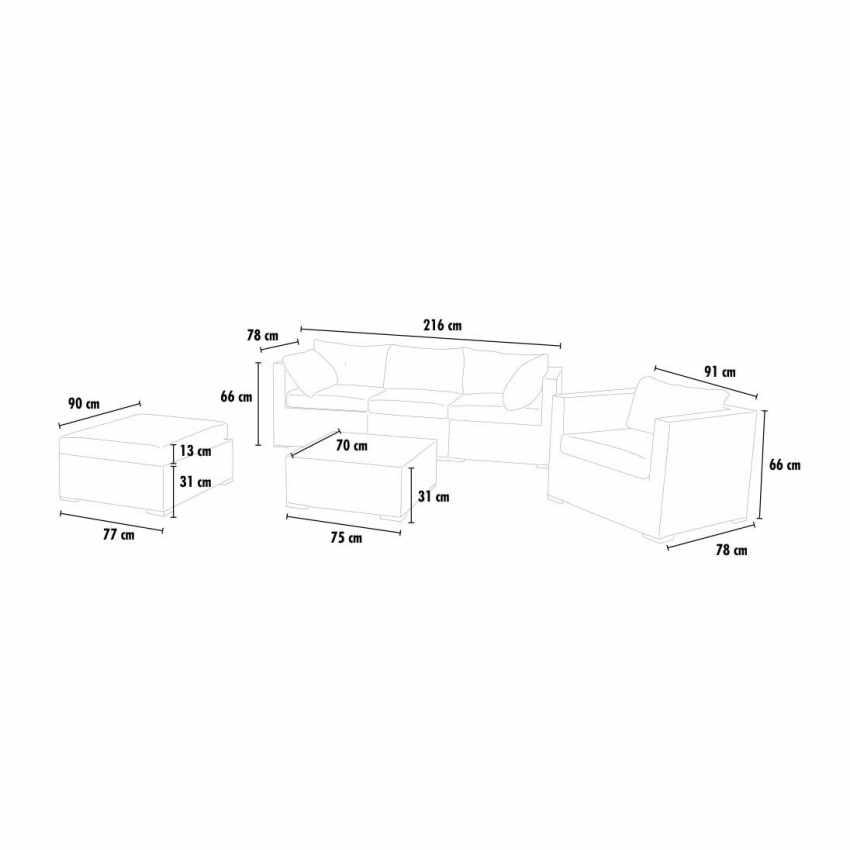 SM935RAT - Salotto giardino rattan sintetico Polyrattan intrecciato SANTA MONICA 4 posti - particolare