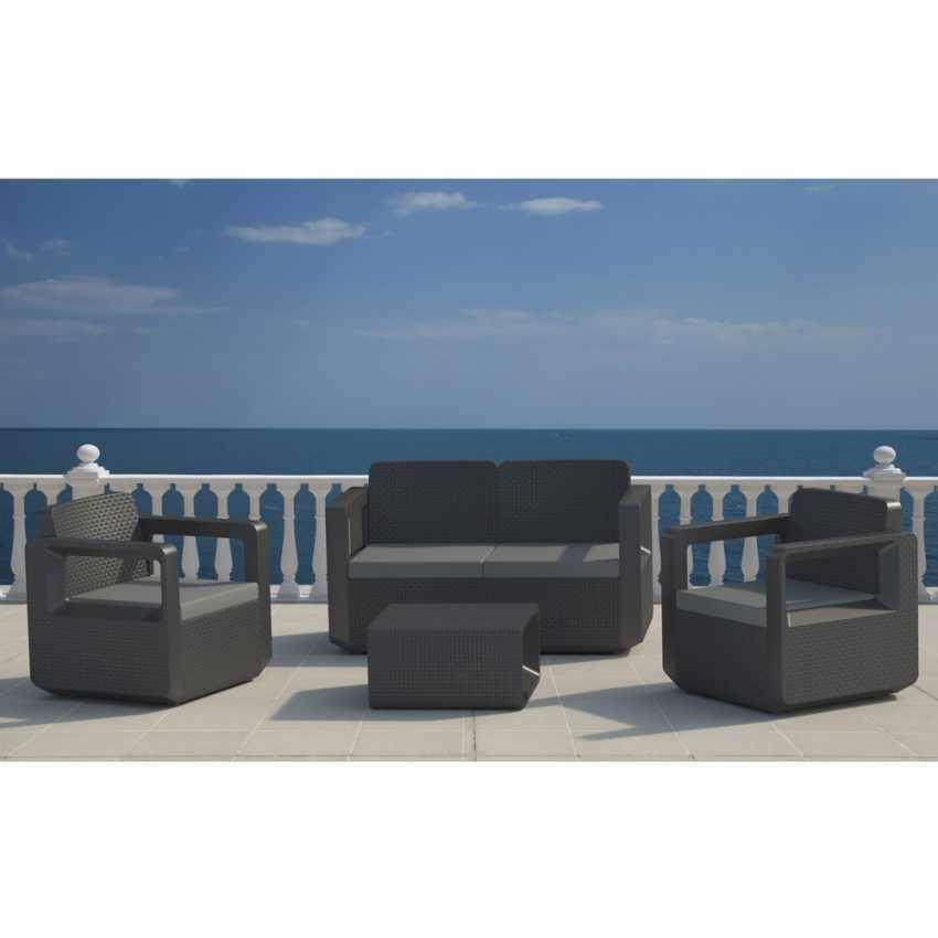 55197 - Salotto da giardino Polyrattan schienale rialzato 4 posti  poltrone + divano VENUS - strisce