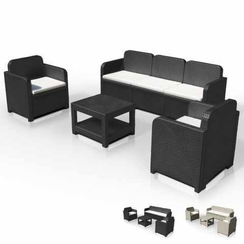 S7715 - Salotto giardino Grand Soleil POSITANO rattan divano tavolino poltrone 5 posti per esterni - verde