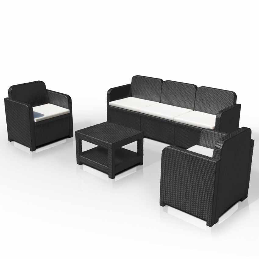 S7715 - Salotto giardino Grand Soleil POSITANO rattan divano tavolino poltrone 5 posti per esterni - grigio