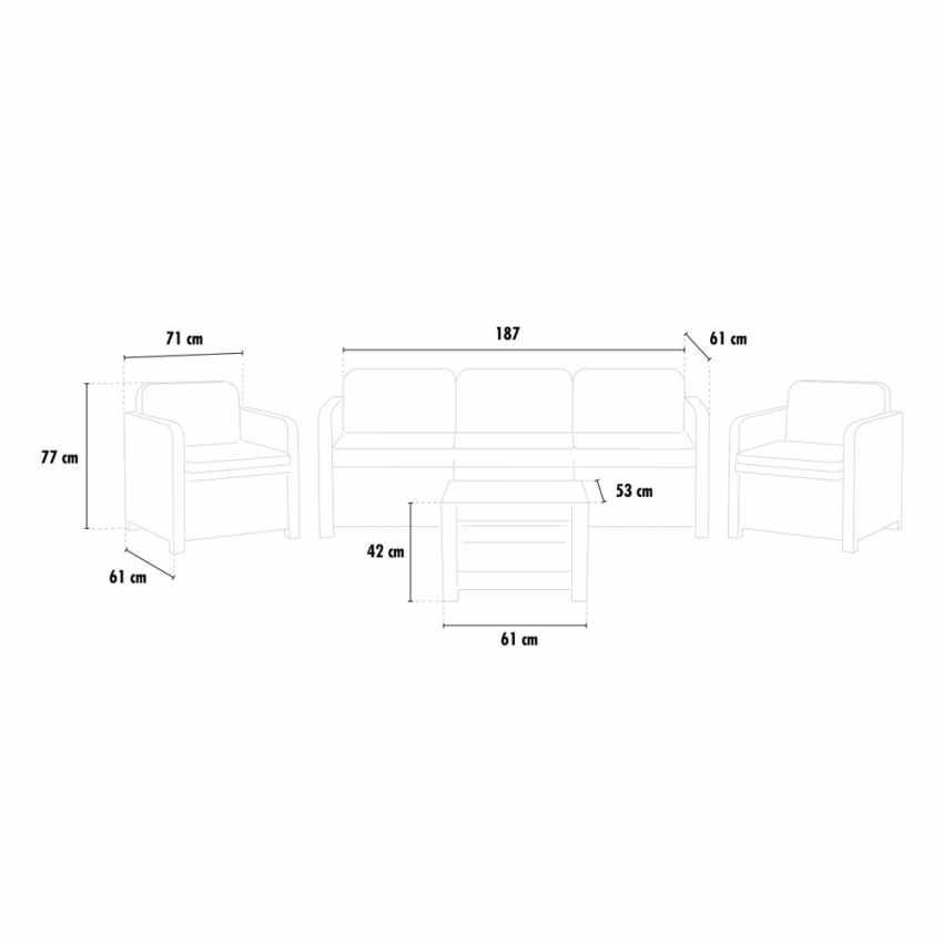 salotto da giardino 5 posti con tavolino in polyrattan nero misure