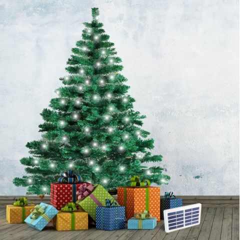 AL180NATLEDB - Albero di Natale artificiale sintetico CORTINA 210cm  con luci led solari - retro