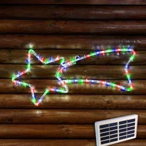 ST050 - Stella cometa 50 LED energia solare esterno albero Natale batteria lunga durata pannello - particolare