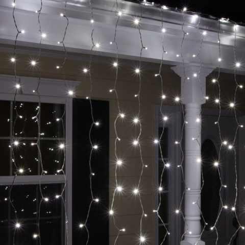 EN100CAL - Tenda luminosa luci Natale esterno led energia solare effetto neve 100 led - giallo